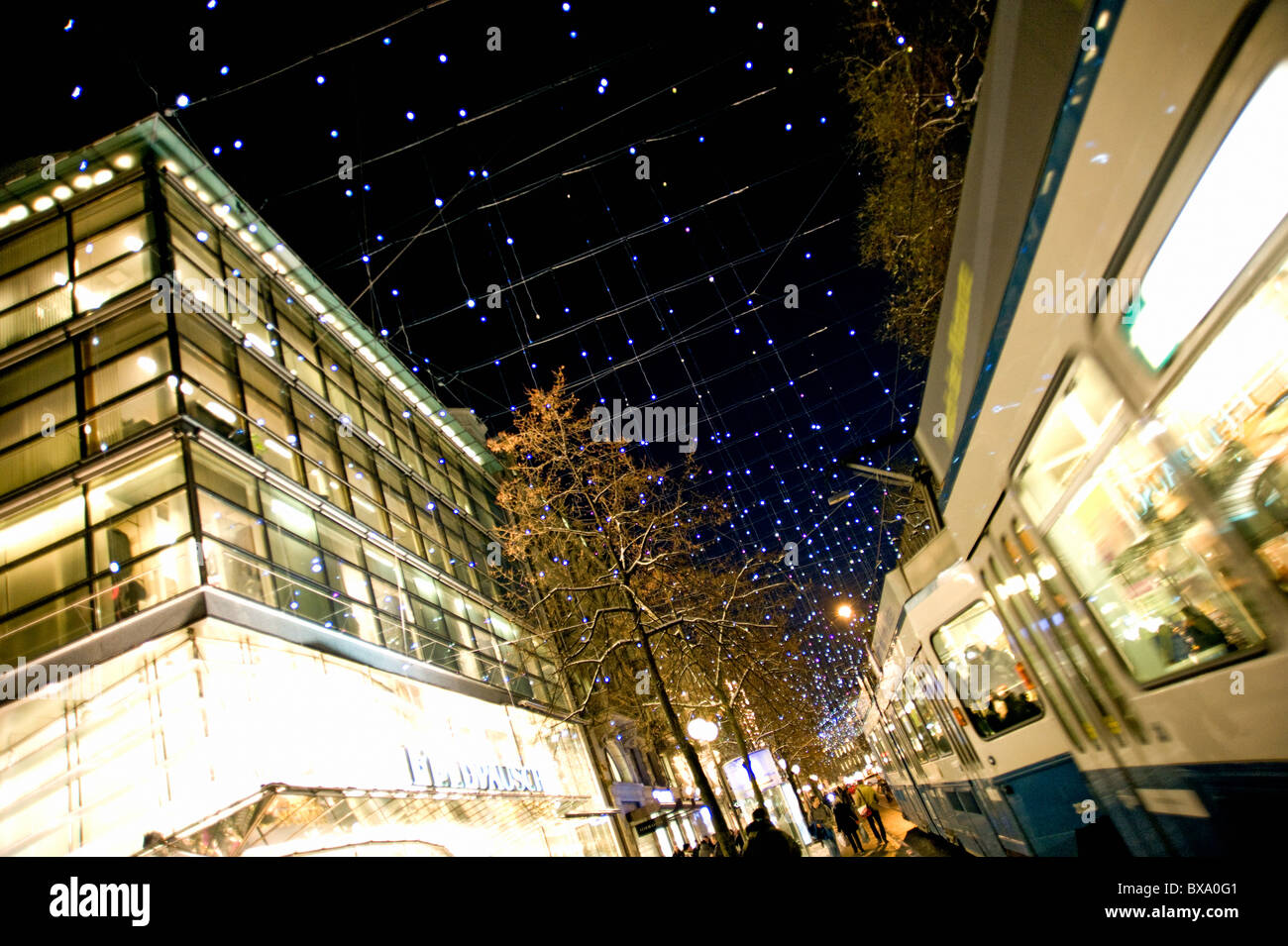Bahnhofstrasse with christmas lights in Zurich, Switzerland. - Stock Image