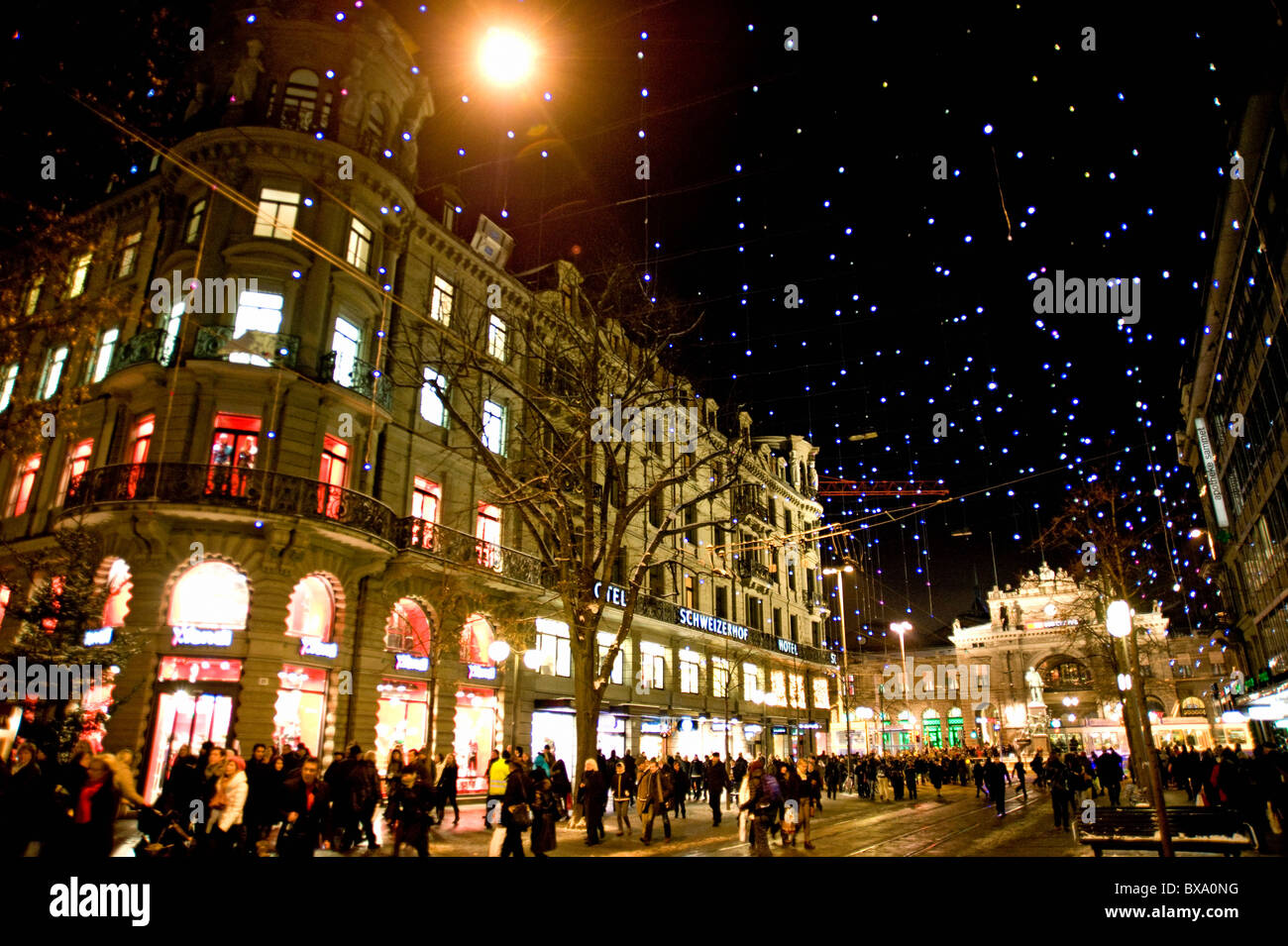 Bahnhofstrasse and central station with christmas lights in Zurich, Switzerland. - Stock Image