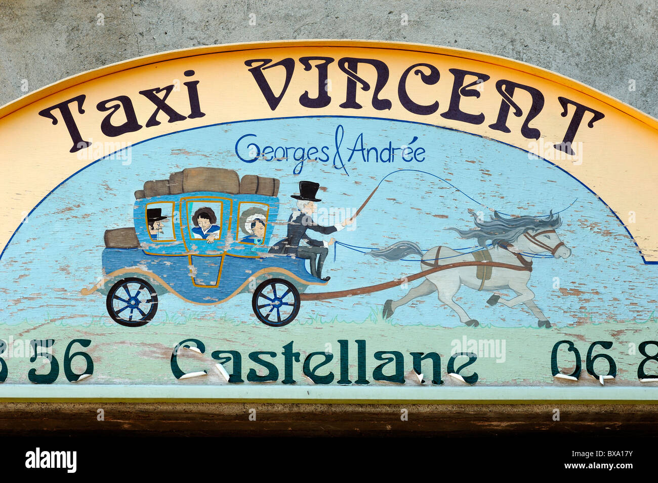 Painted Taxi Sign or Advert Showing Horses and Hackney Carriage, Castellane, Alpes-de-Haute-Provence, Provence, - Stock Image