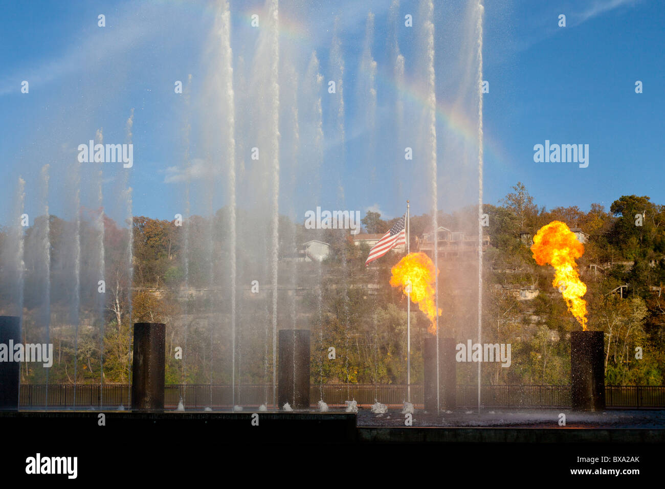 The decorative fire and water fountain at the Branson Landing shopping center in Branson, Missouri, USA. - Stock Image