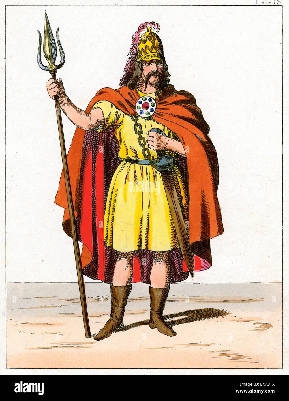 King Cassivellaunus (Cymbeline) Ancient Briton & Chieftain commanding against Roman Emperor Julius Cesar (c19th Stock Photo