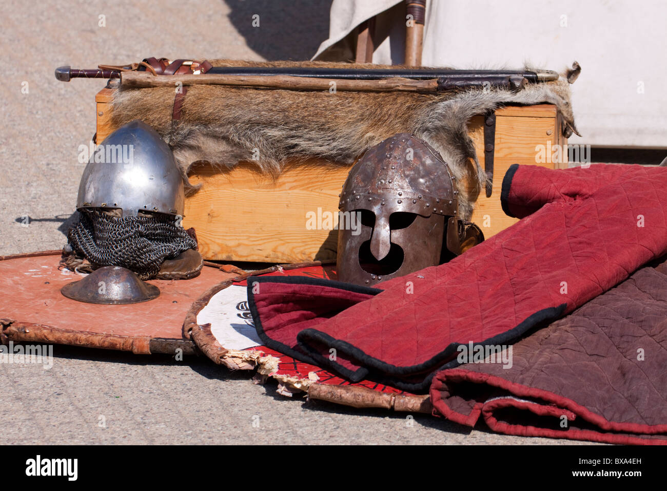 European medieval Slavic swords, helmets, shields and gambeson on display - Stock Image
