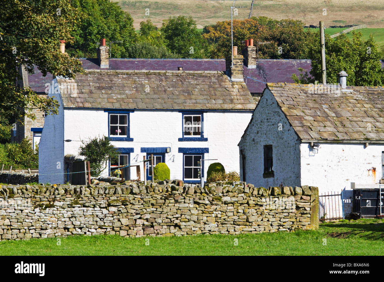 Farm buildings in the village of Bowlees in the Tees Valley, Teesdale, County Durham, England - Stock Image