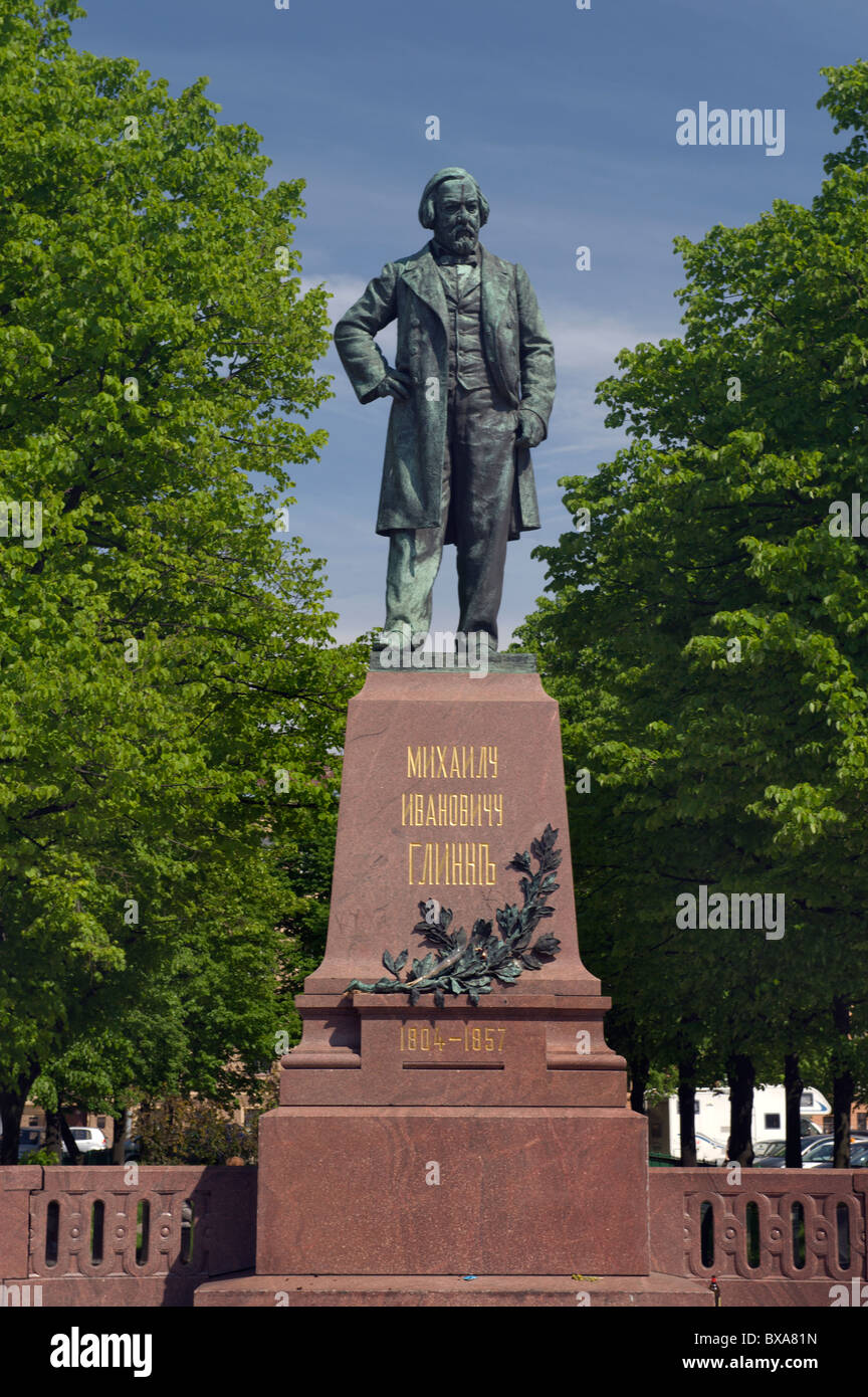 Statue of Mikhail Glinka in front of Mariinsky Theater St Petersburg Russia - Stock Image
