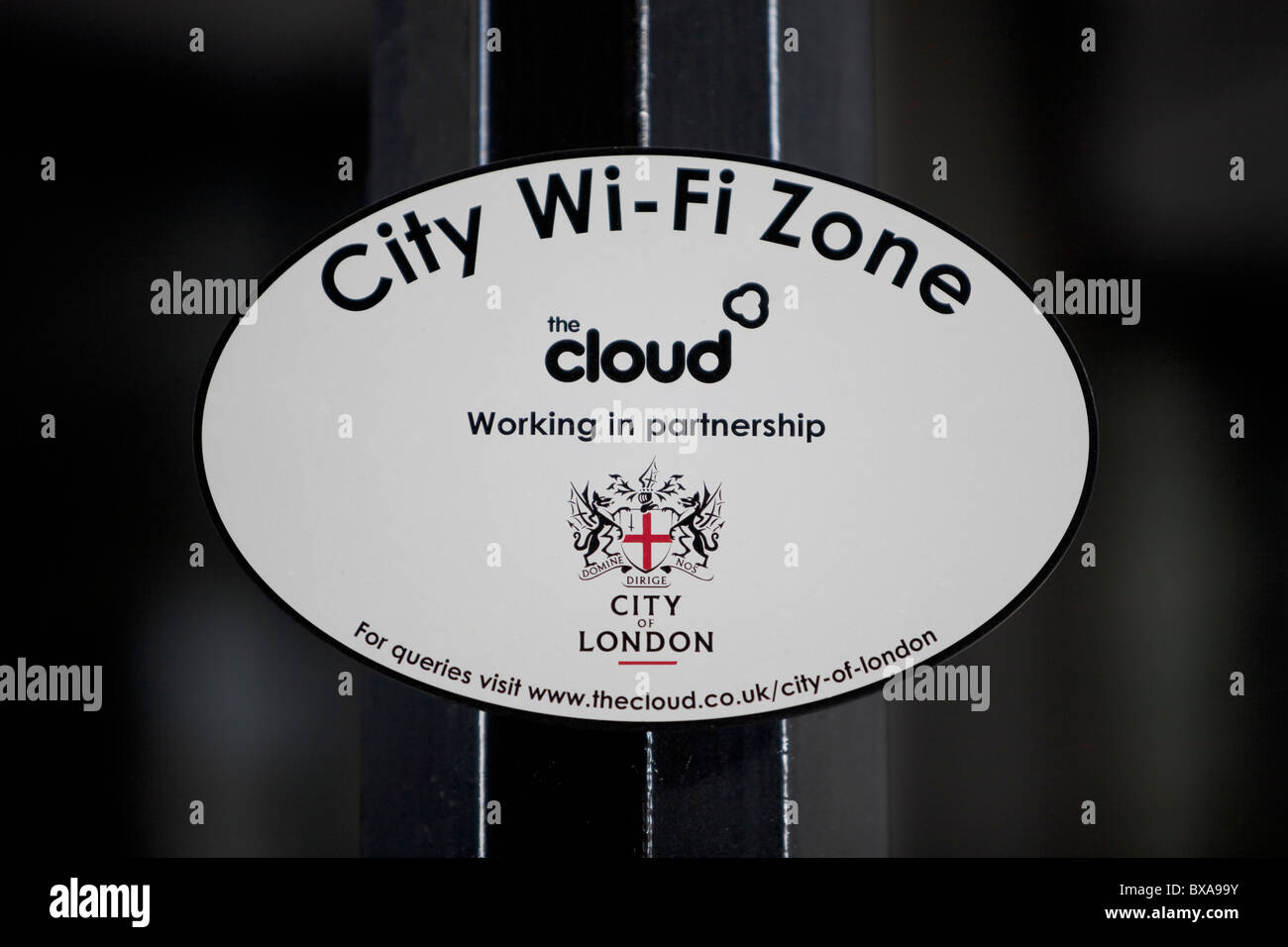 The cloud wi fi zone sign, London, UK - Stock Image