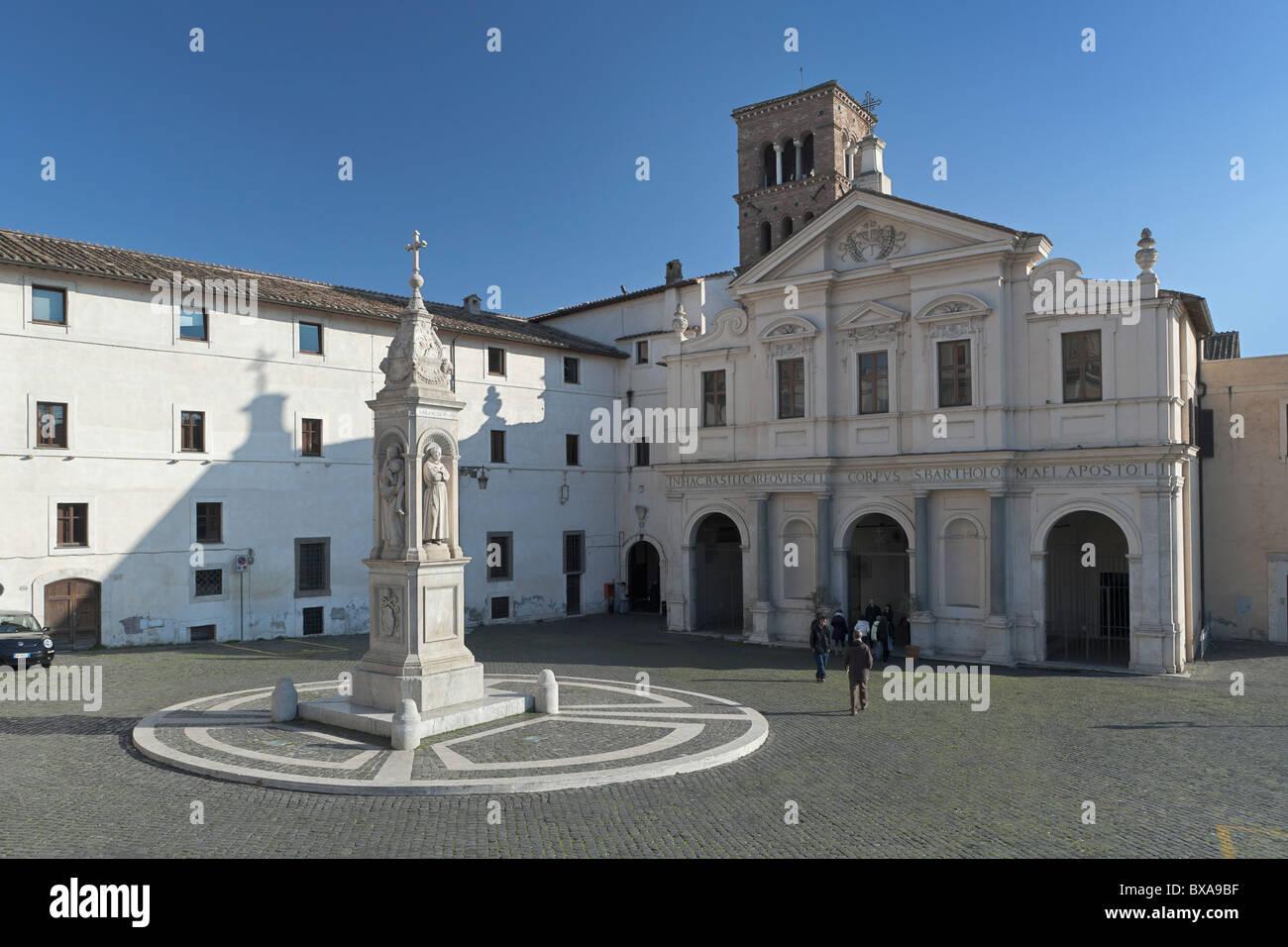 The Church of Saint Bartholomew,Tiber Island, Rome,Italy - Stock Image