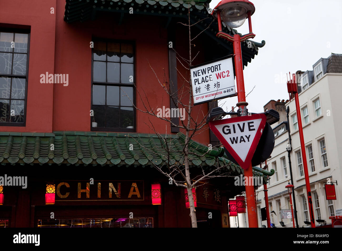 Newport Place street sign, China Town, London - Stock Image