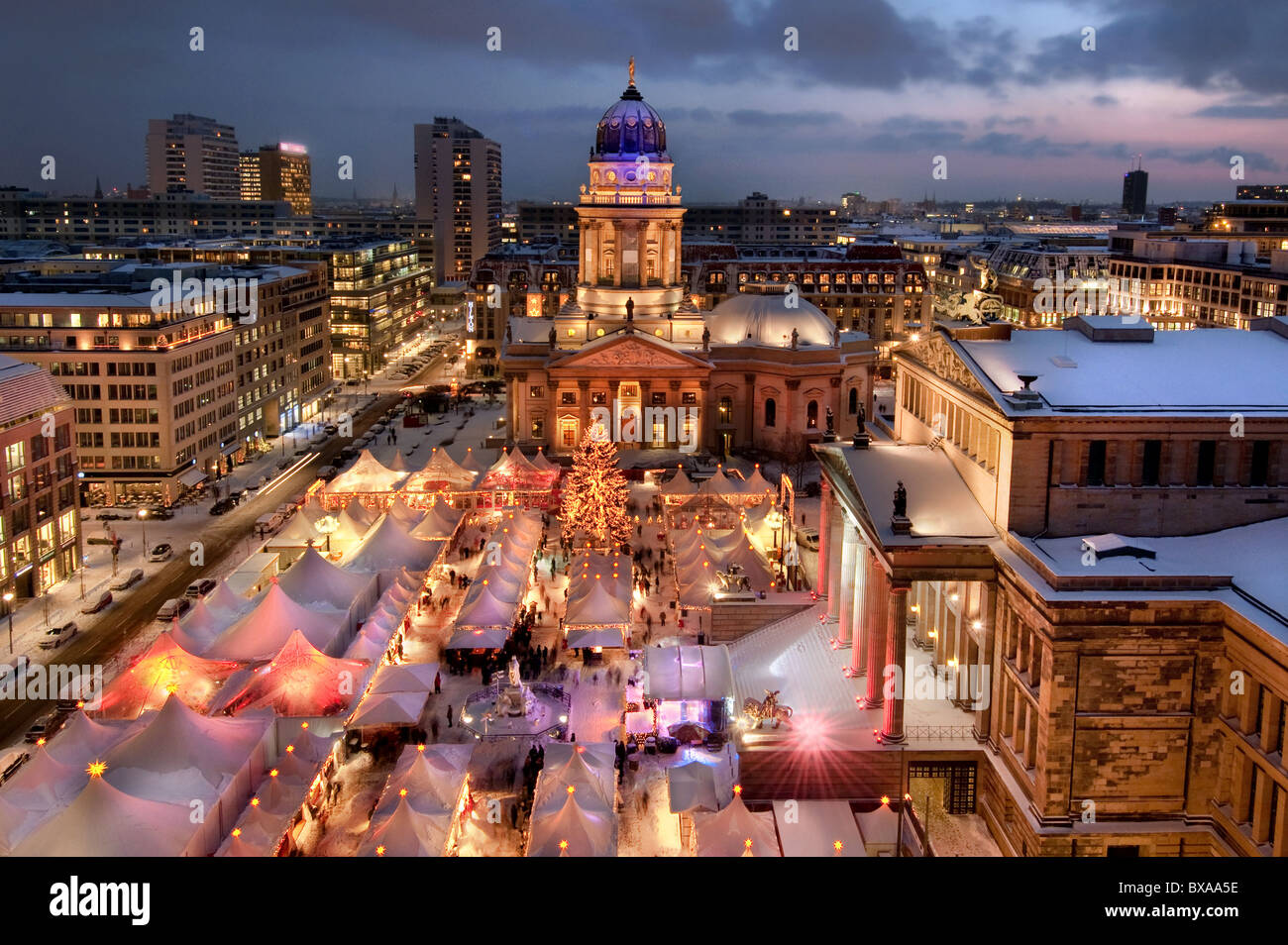 view from french dome on Christmas market with snow,  Gendarmenmarkt Berlin 2010  Germany - Stock Image
