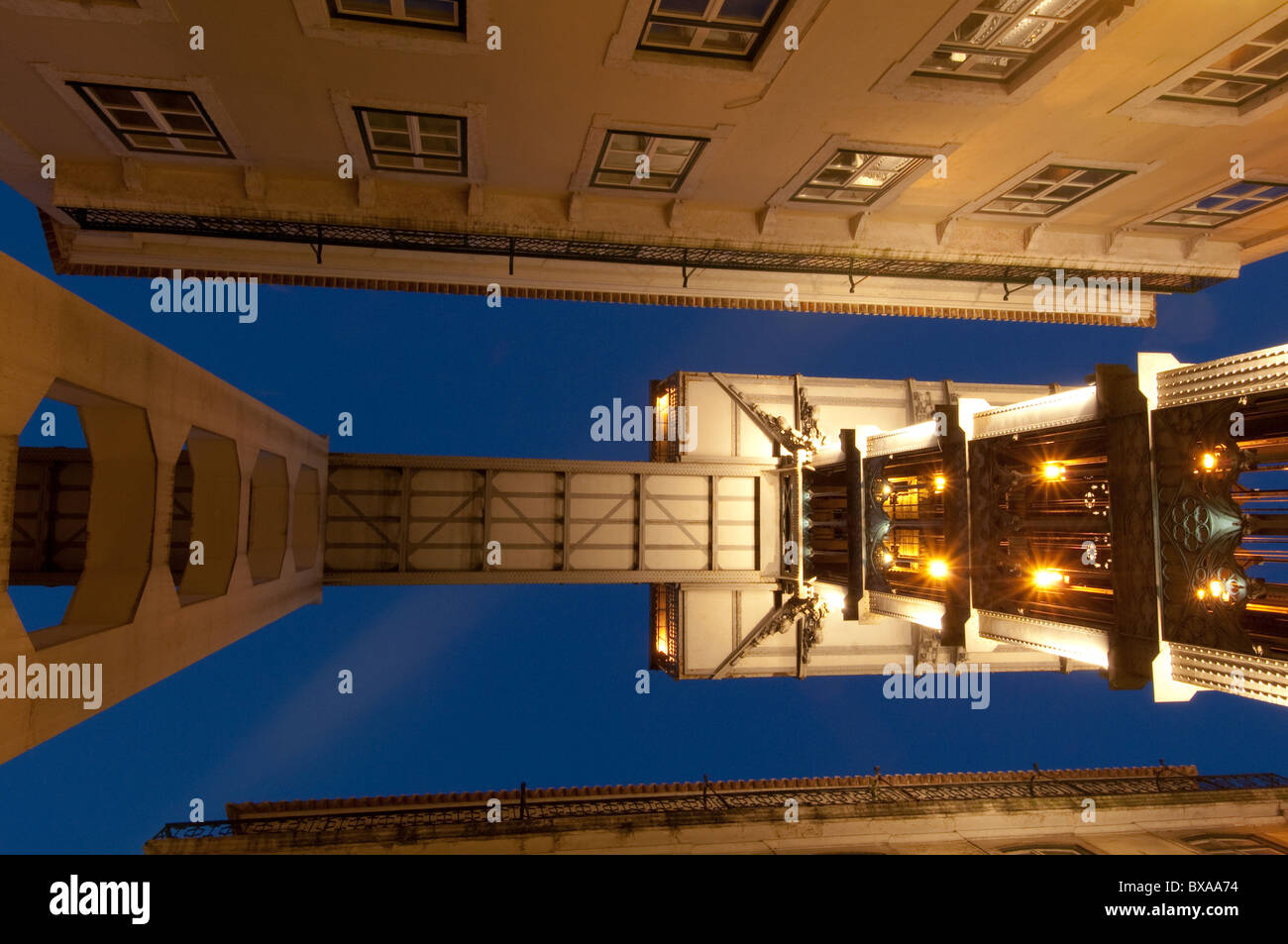 Elevador de Santa Justa (1900 - 1902), vertical lift or elevator, at the end of Rua Santa Justa, Lisbon Portugal - Stock Image