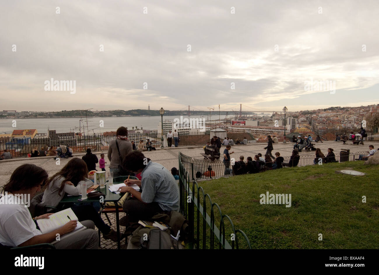 Viewpoint of Santa Catarina overlooking the Tage river and the 25 April bridge lisbon portugal - Stock Image