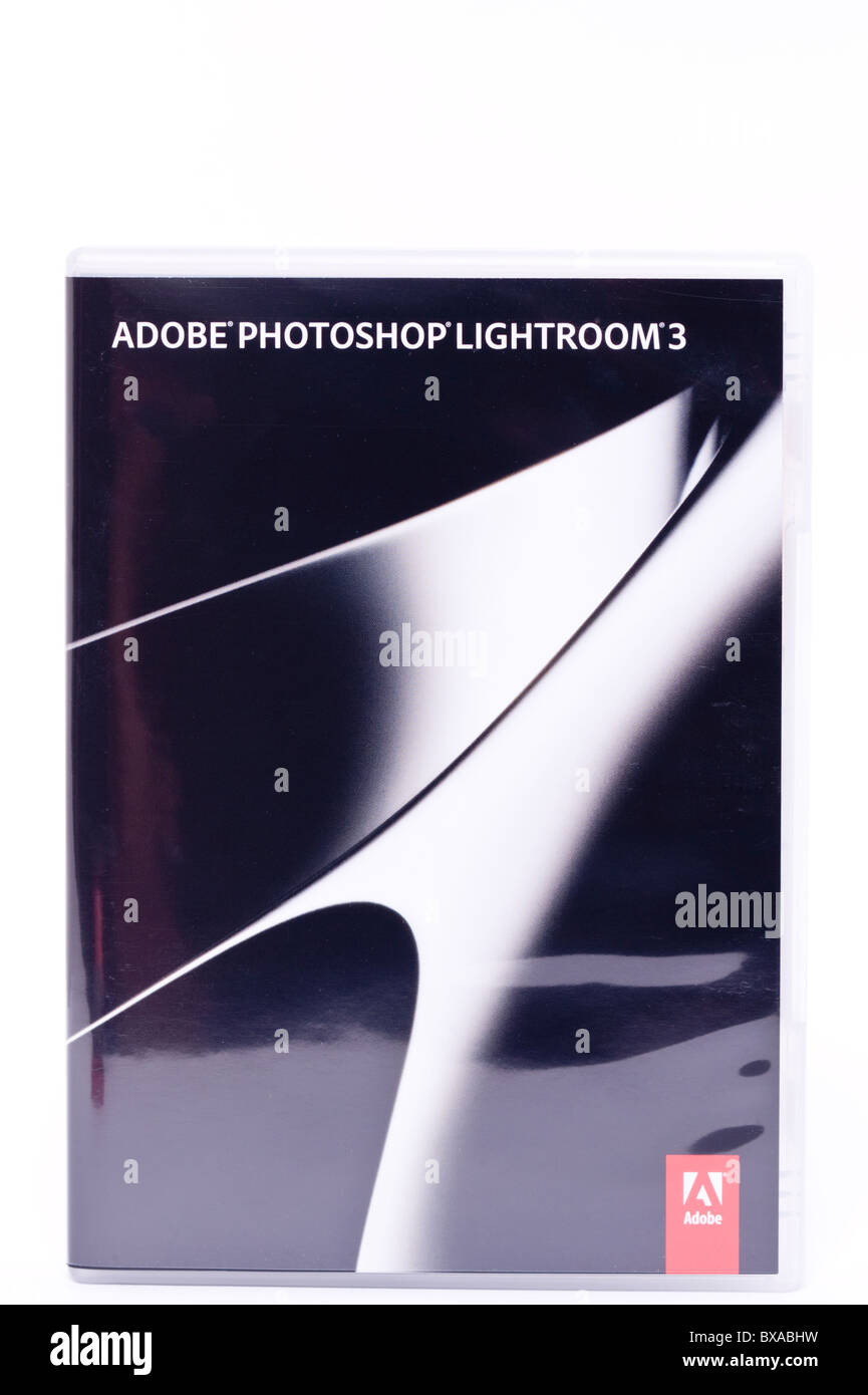 The new Adobe photoshop Lightroom 3 software for computers on a white background - Stock Image