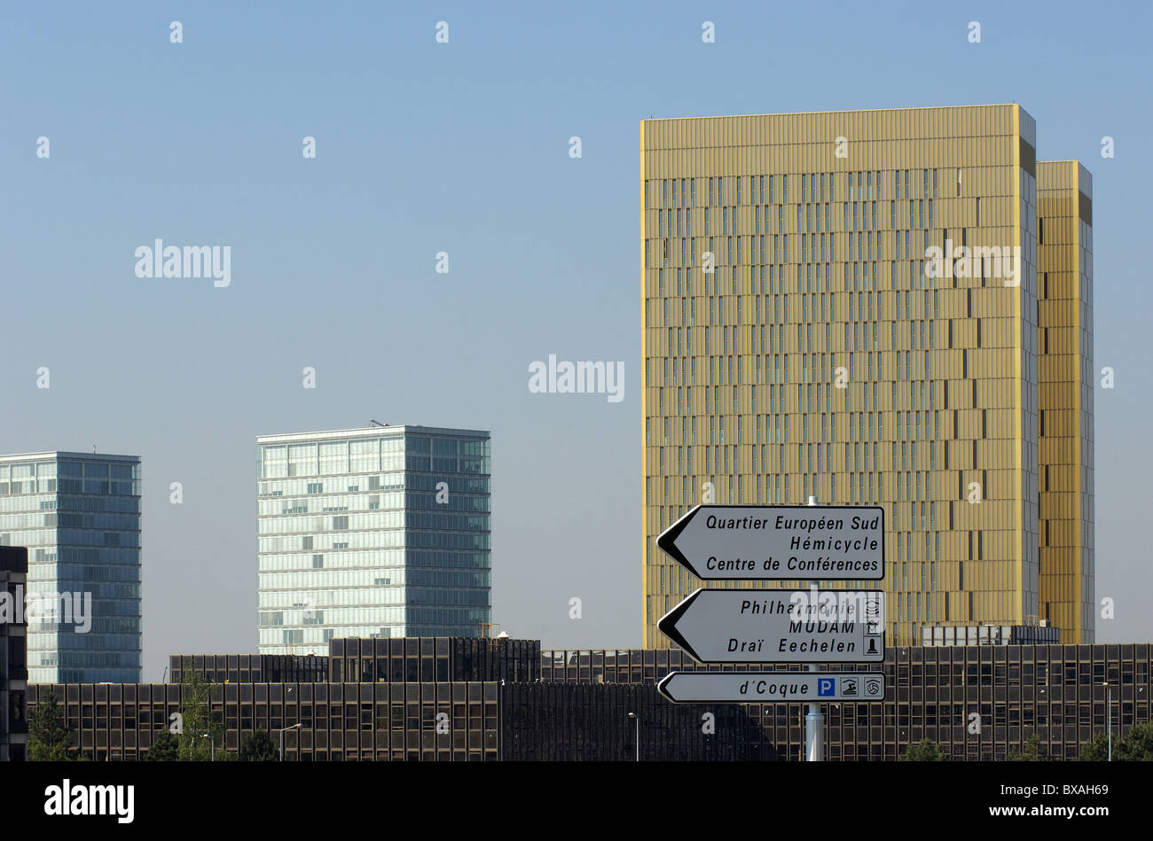 The ensemble of buildings of the EU on the Kirchberg Plateau in Luxembourg - Stock Image