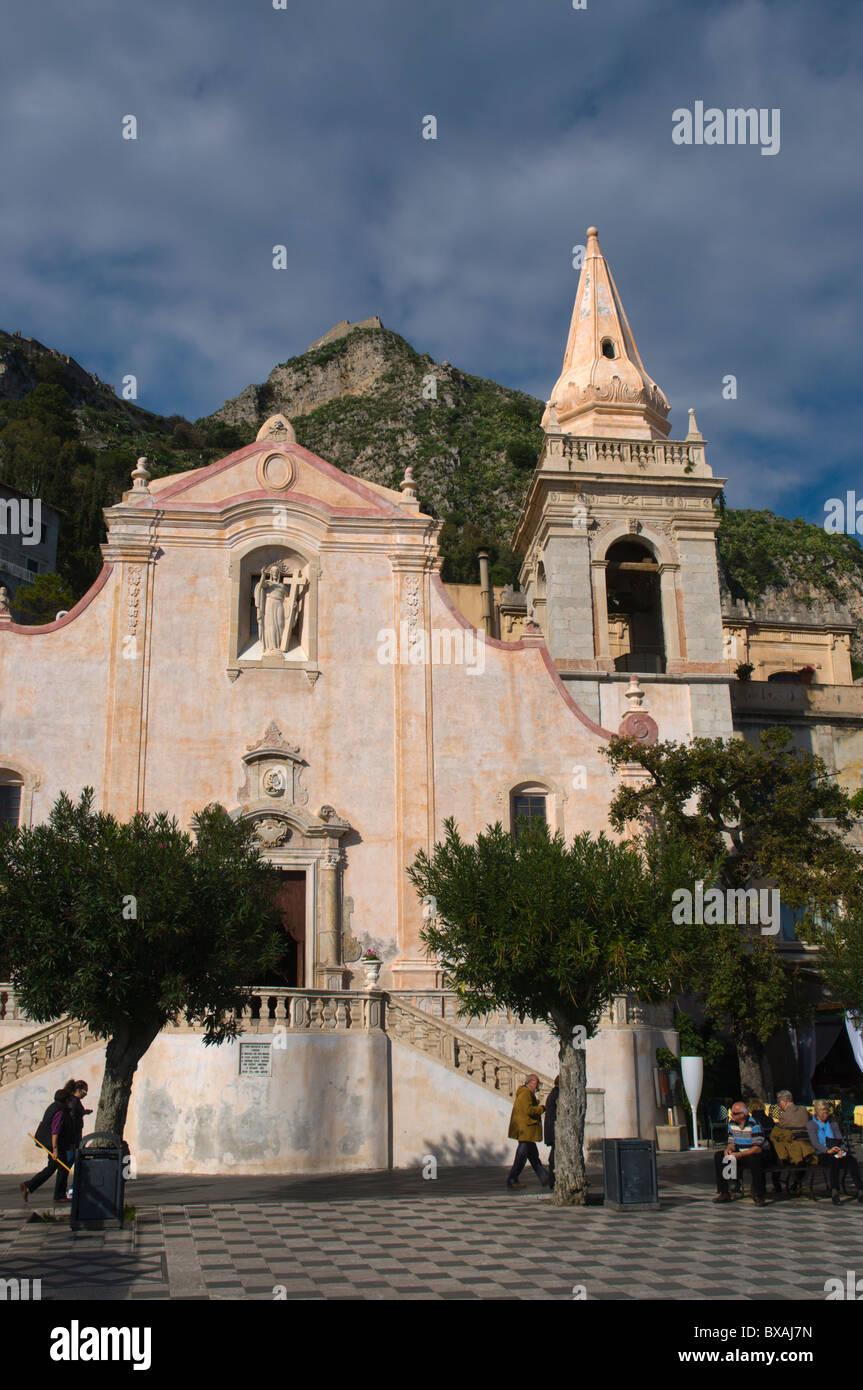 San Giuseppe church Piazza IX Aprile old town Taormina Sicily Italy Europe - Stock Image