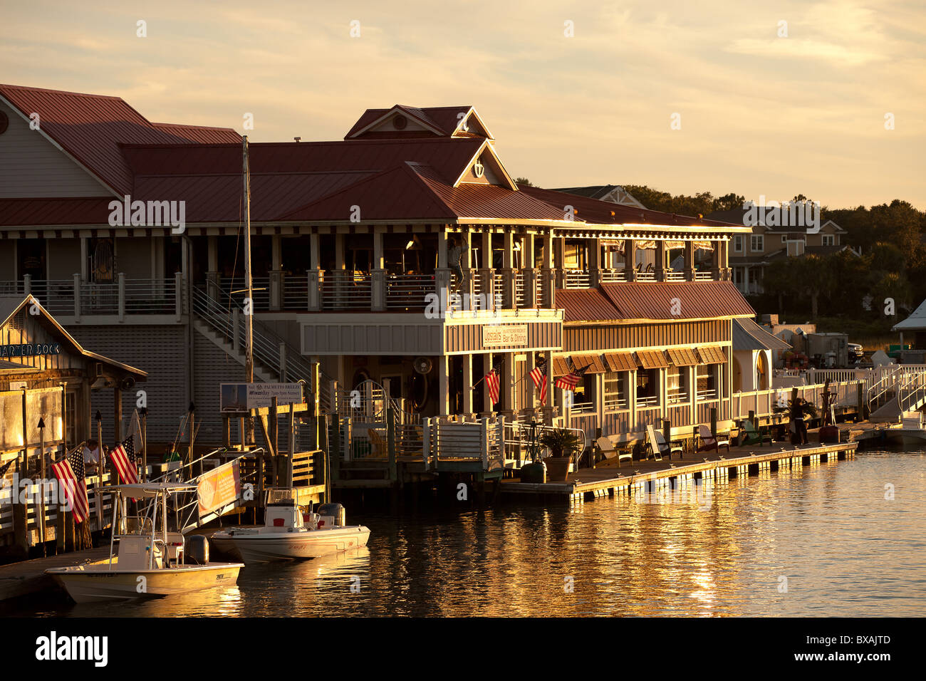 Sunset Over The Restaurants On Shem Creek In Mt Pleasant Sc