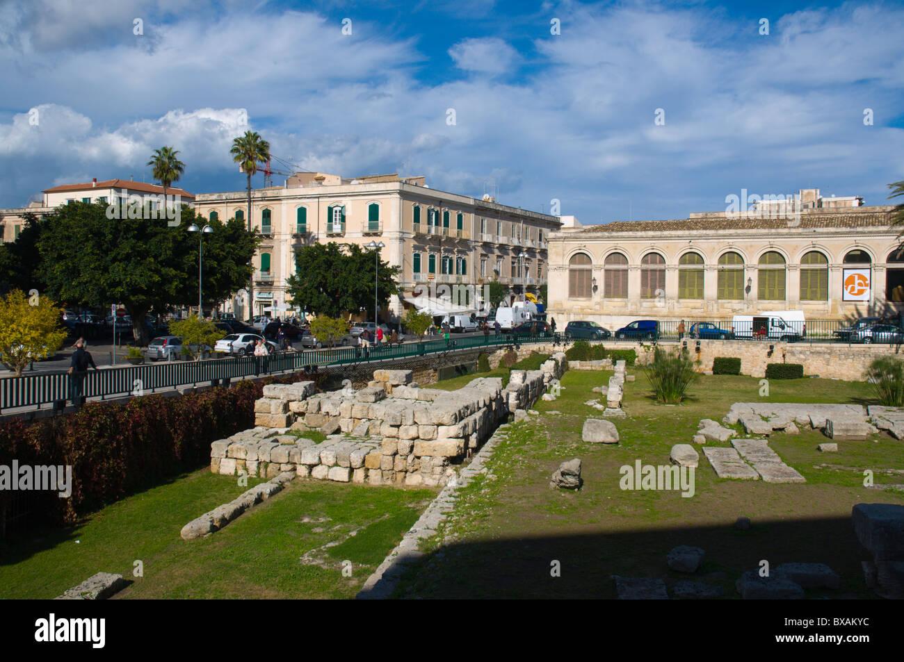 Tempie di Apollo Ortigia island Syracuse Sicily Italy Europe - Stock Image