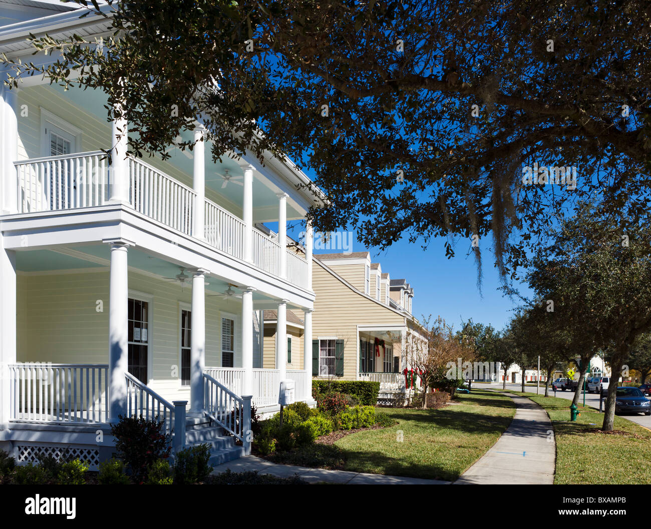 Houses on Celebration Ave near the centre of the Disney purpose built township of Celebration, Kissimmee, Orlando, - Stock Image