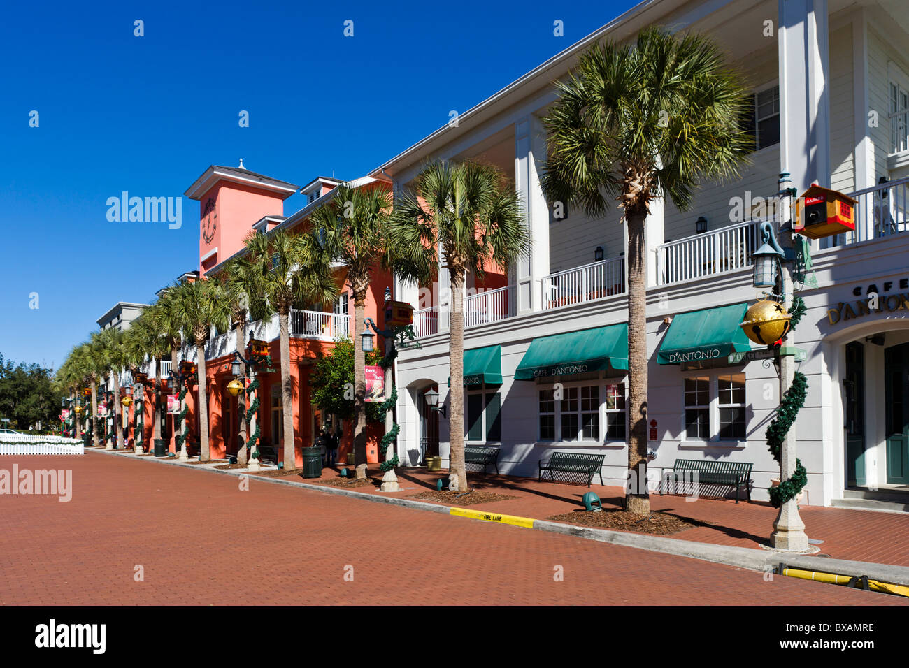 Market Street in the centre of the purpose built township of Celebration, Kissimmee, Orlando, Central Florida, USA - Stock Image