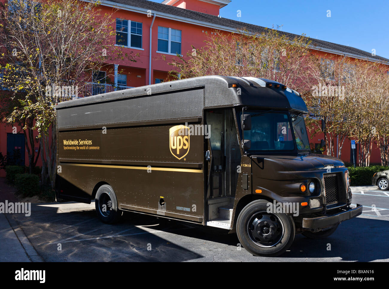 UPS delivery truck, Celebration, Florida, USA - Stock Image