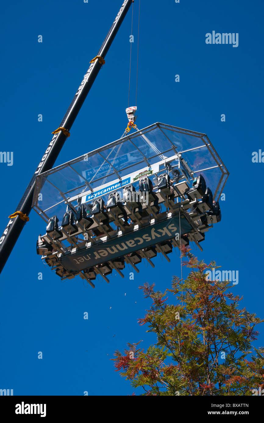 Skyscanner, eating in the air, Princes street, Edinburgh, Scotland, August 2010 - Stock Image