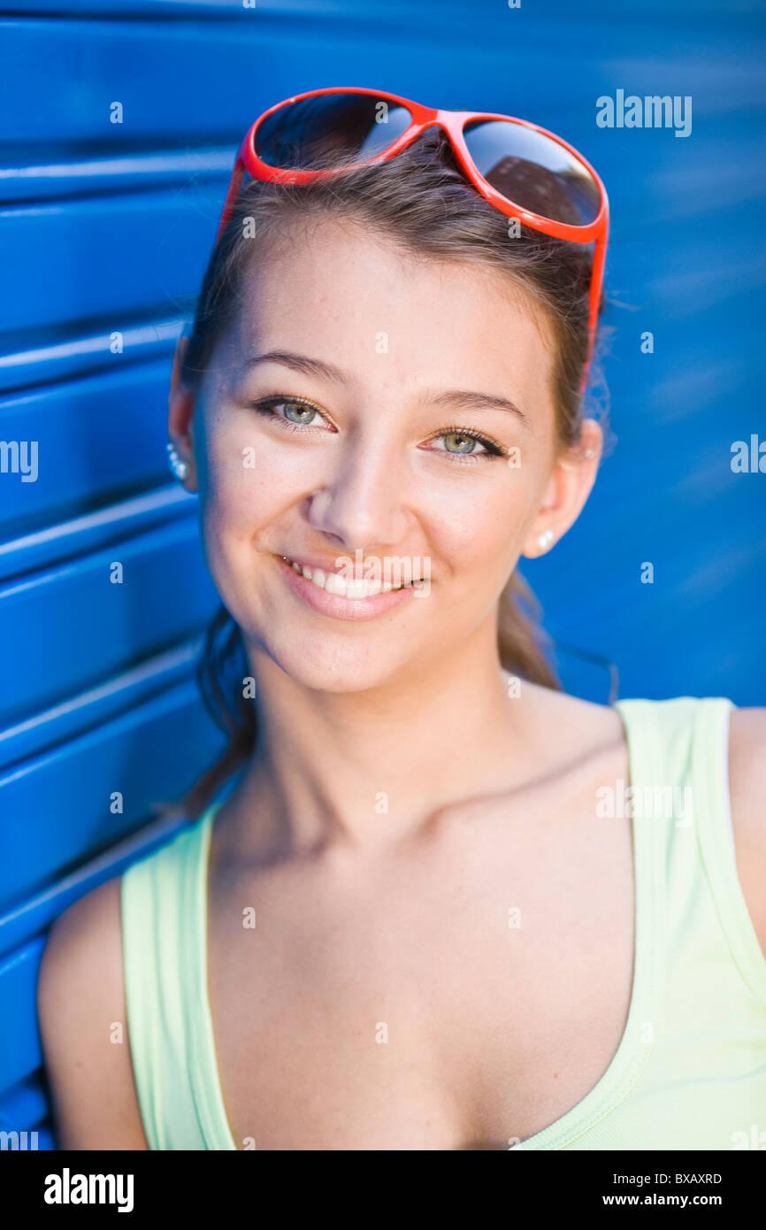 Portrait of girl smiling - Stock Image