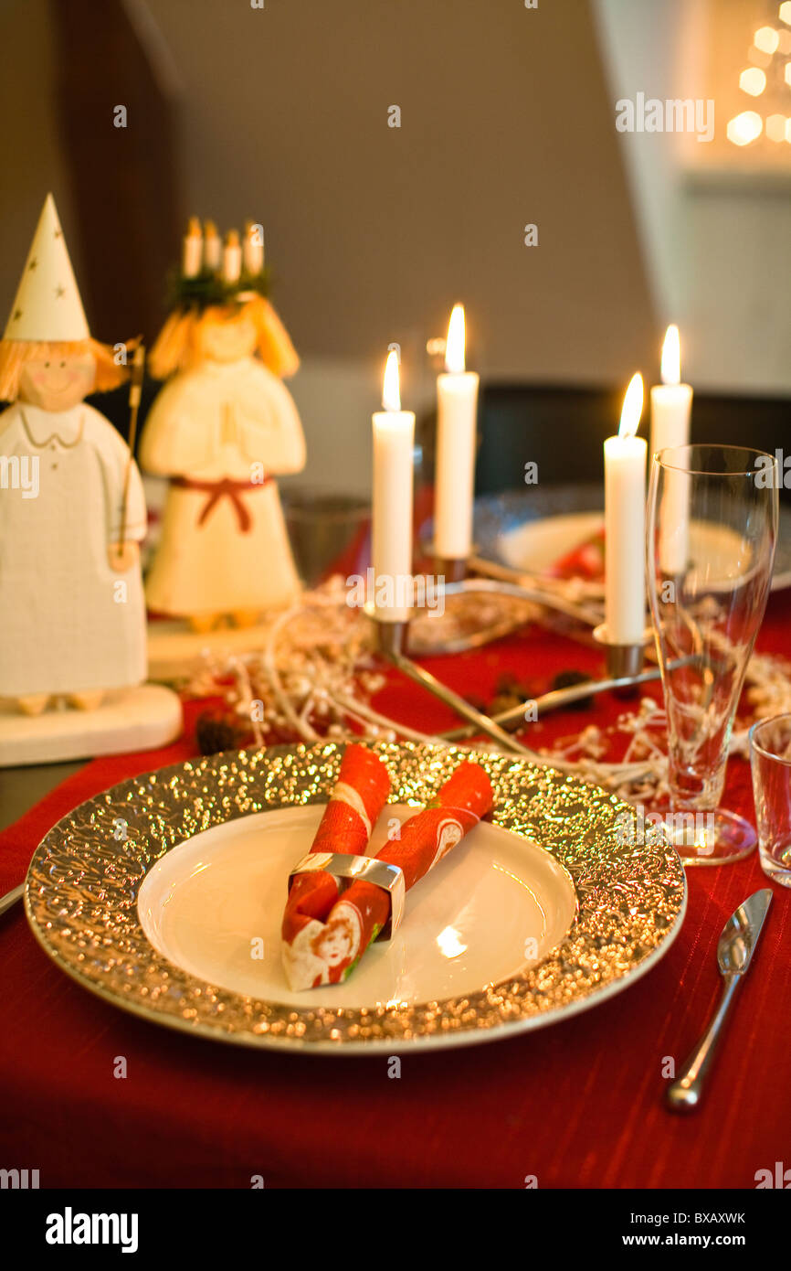 Traditional christmas dinner decoration - Stock Image