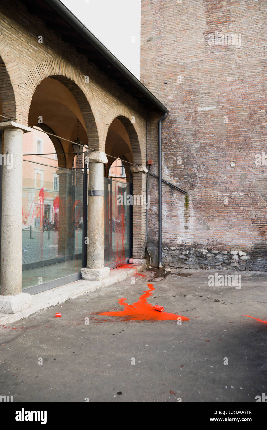 Roma, largo Argentina, red dye thrown by protesters - Stock Image