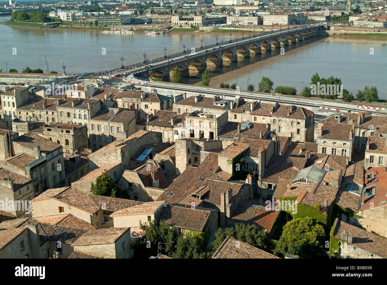Bordeaux city, France - The Pont de Pierre over the Garonne river and surrounding city, Bordeaux, Gironde, France. - Stock Image