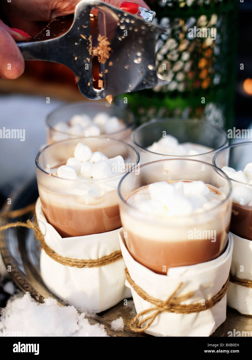 Glasses of hot chocolate, close-up Stock Photo