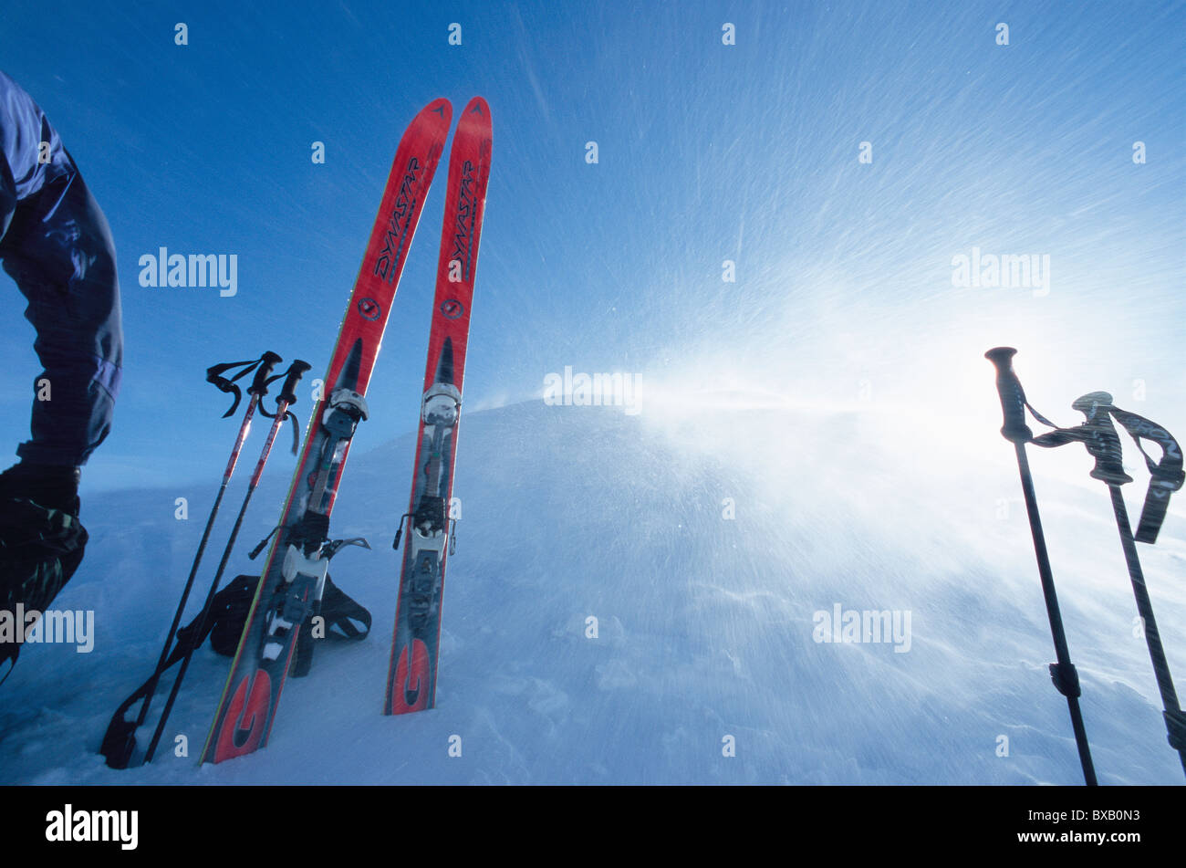 Ski equipment in mountain scenery - Stock Image