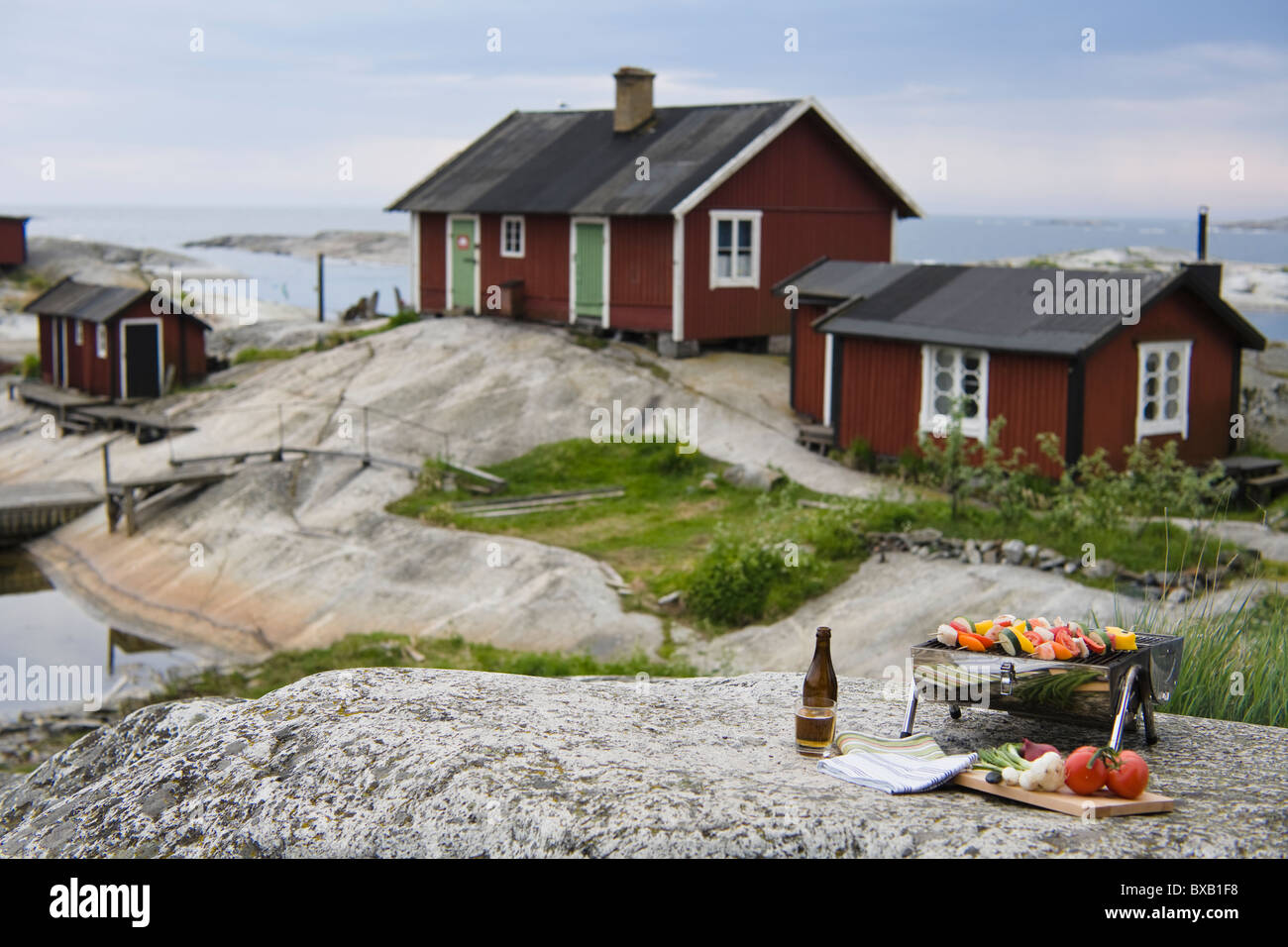 Barbecue grill with vegetables on rock with houses in background - Stock Image
