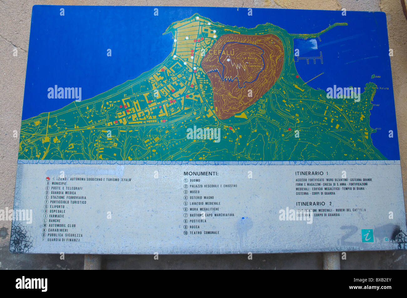 Map Of Cefalu Town Sicily Italy Europe Stock Photo 33434883 Alamy