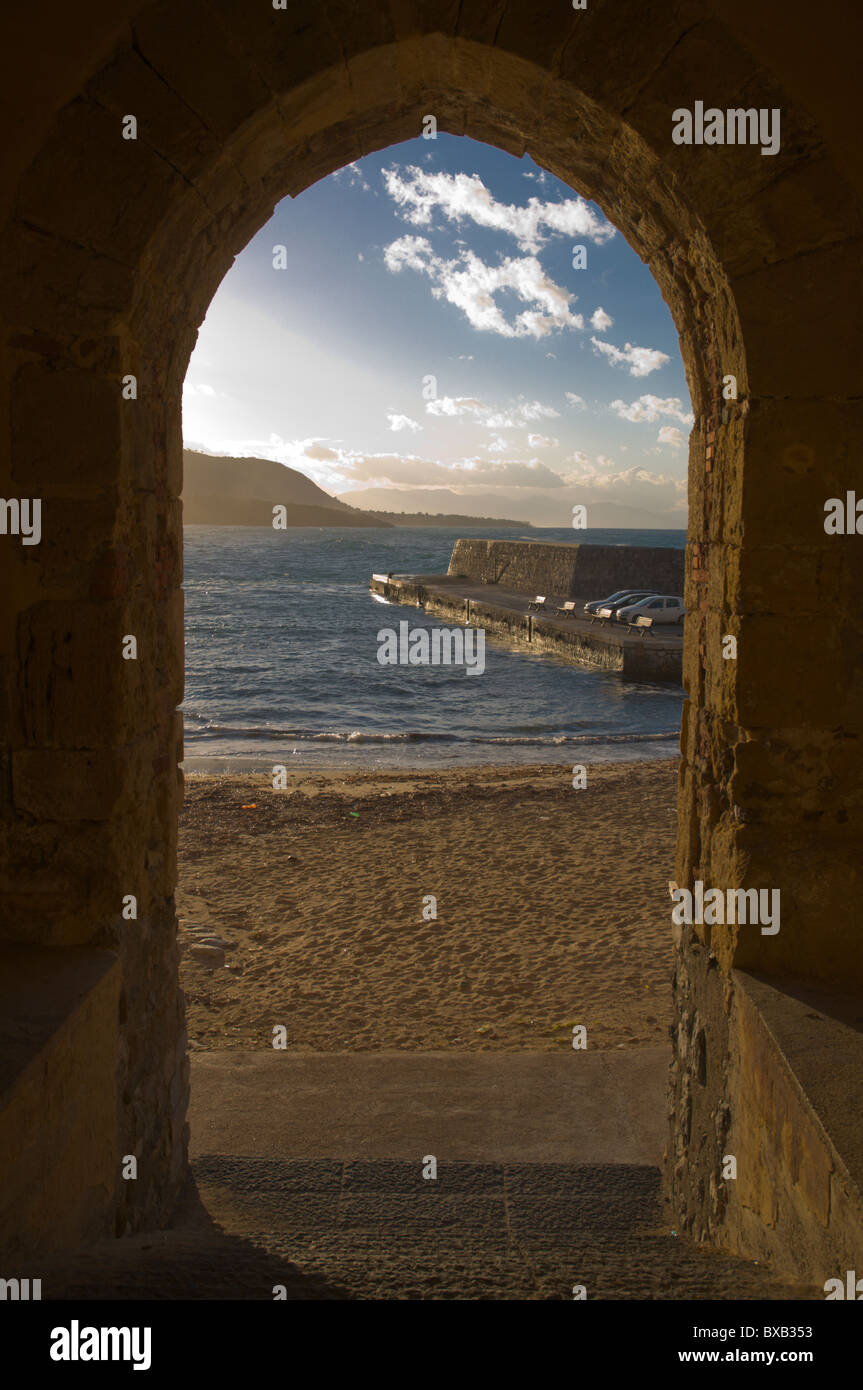 View onto the beach at Cefalu town Sicily Italy Europe Stock Photo