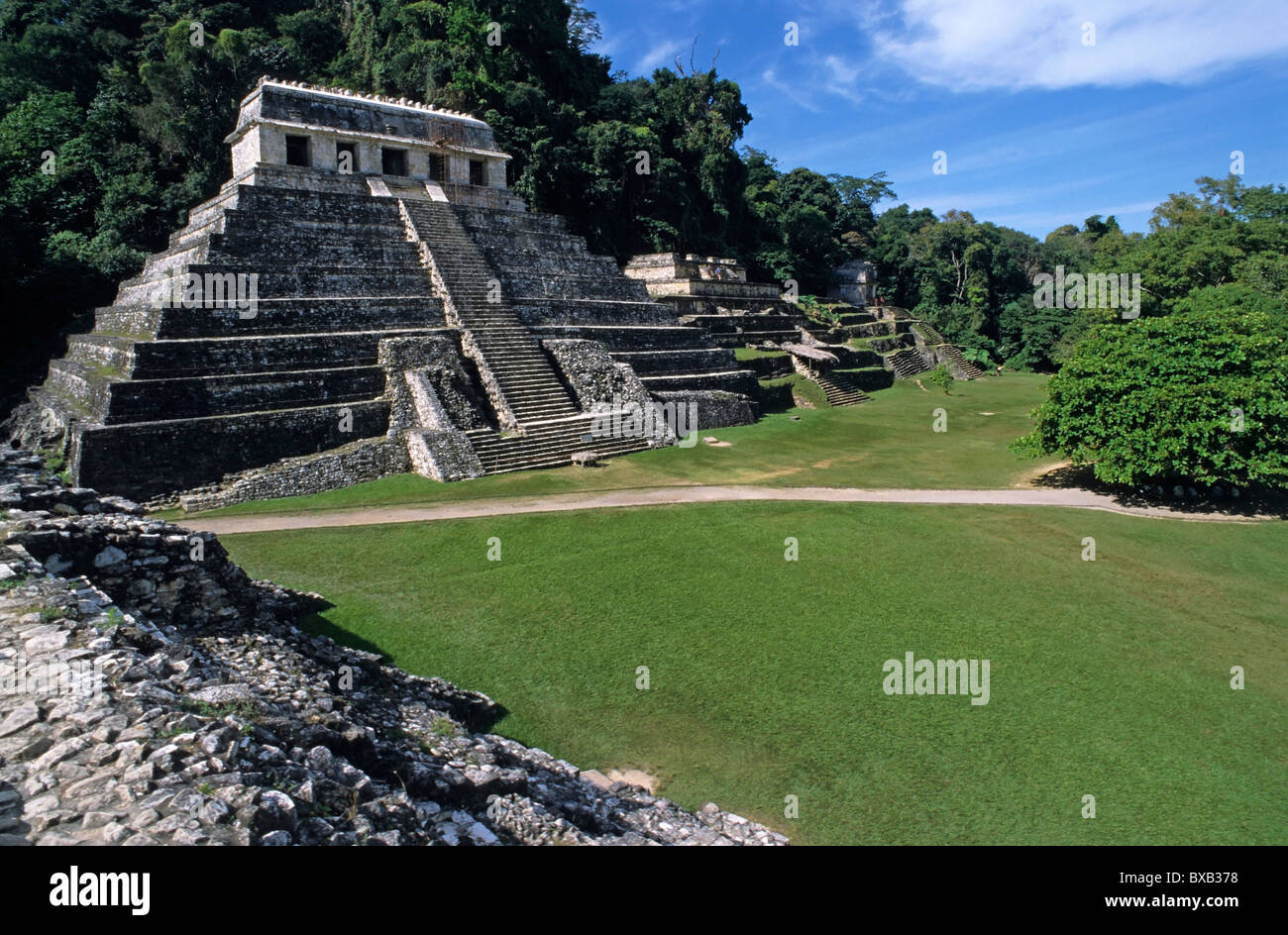 Temple of Inscriptions, part of a group of temples at the Maya ruins of Palenque, Chiapas, Mexico. - Stock Image