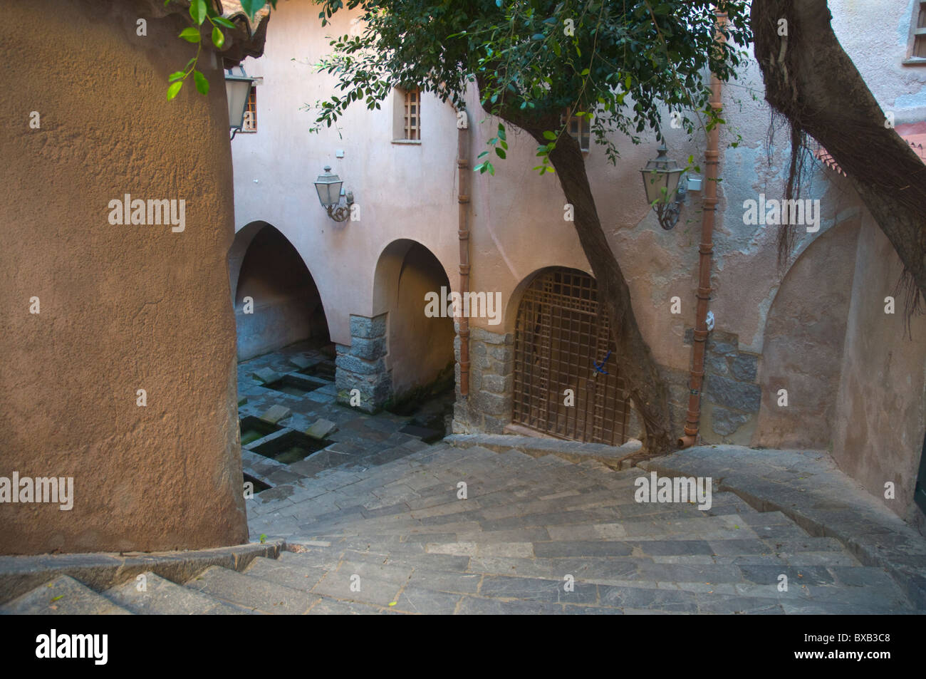 Lavatoio Medievale the medieval public laundry from 17th century central Cefalu town Sicily Italy Europe Stock Photo