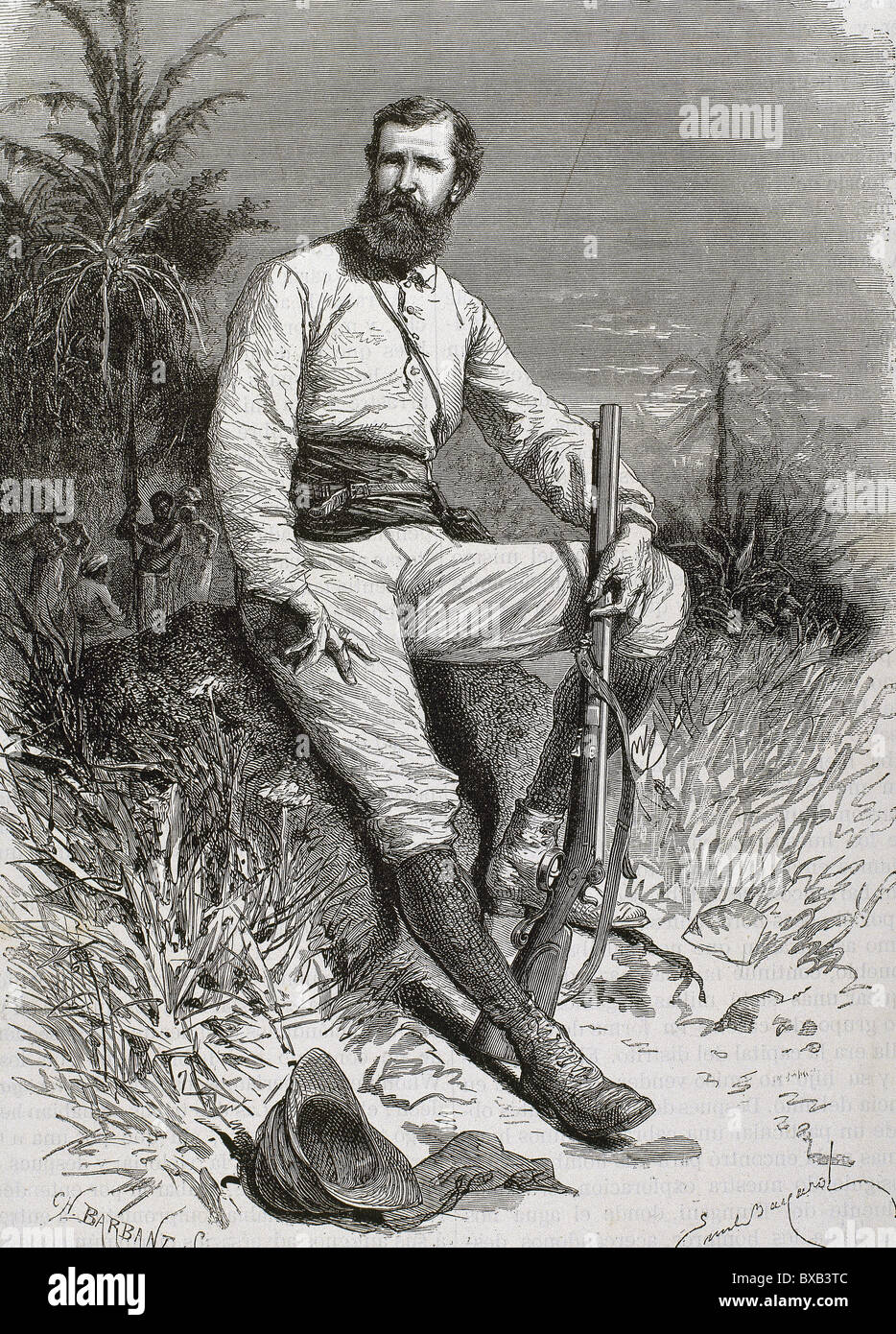Cameron, Verney Lovett (1844-1894). British traveler and explorer. Engraving by Barbant. - Stock Image