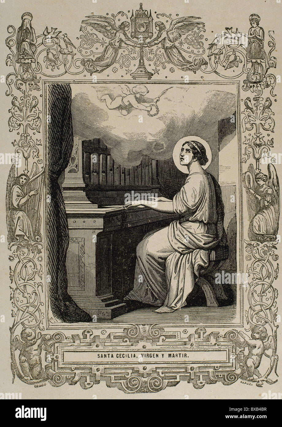 Saint Cecilia of Rome. 2nd century A.C. Roman martyr. Engraving by Capuz. - Stock Image