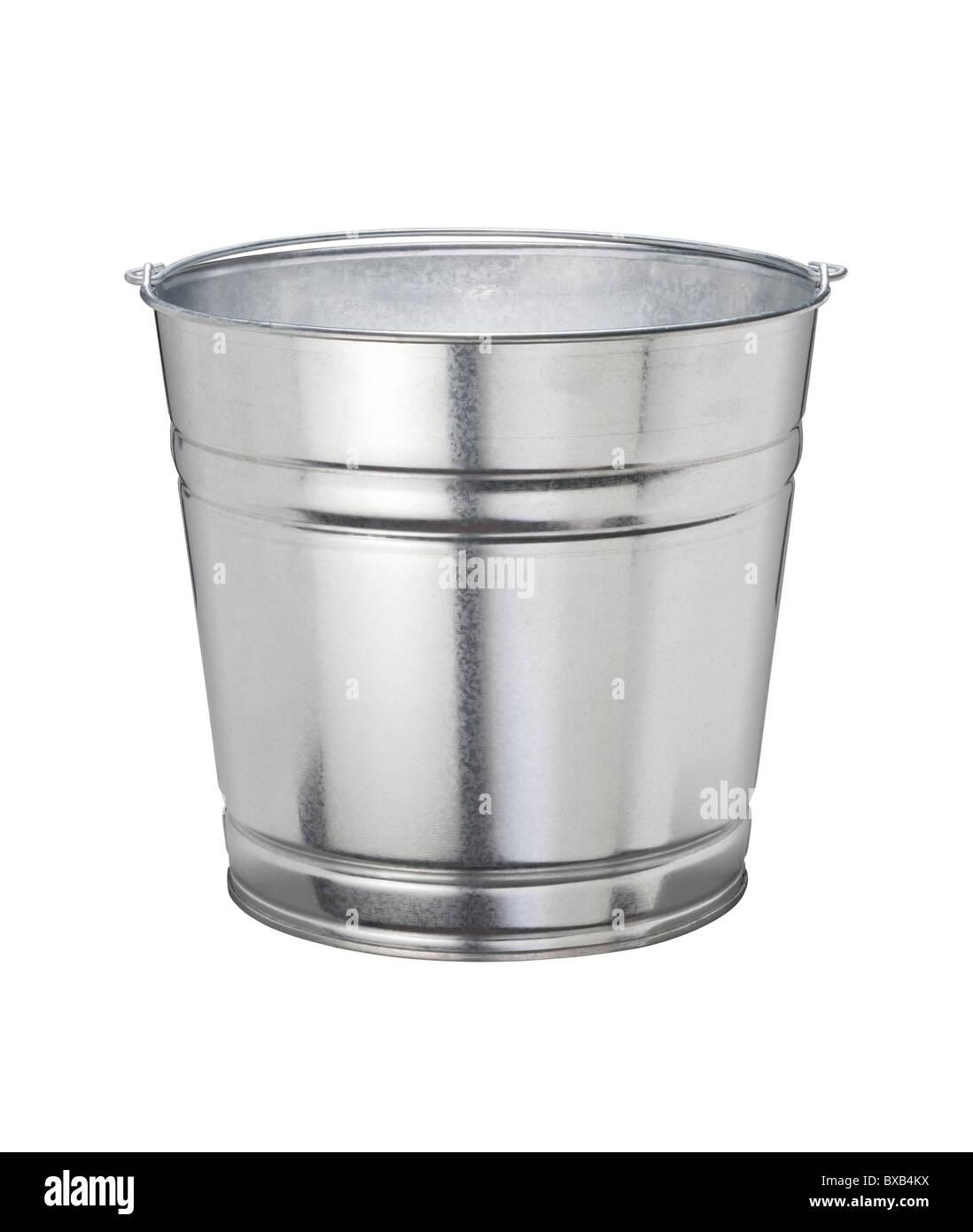 Aluminum Bucket isolated on a white background - Stock Image