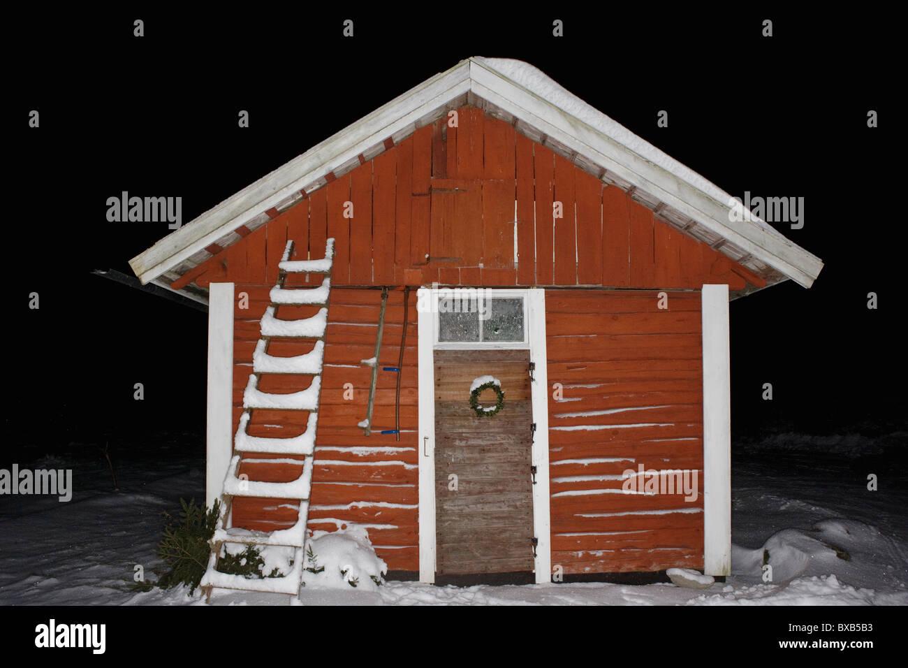 Hut in winter - Stock Image