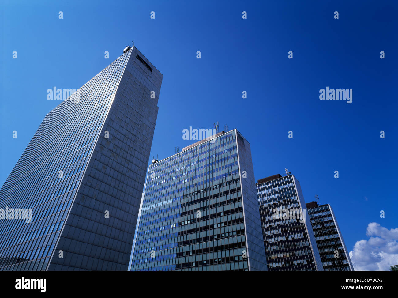 Low angle view of modern skyscrapers - Stock Image