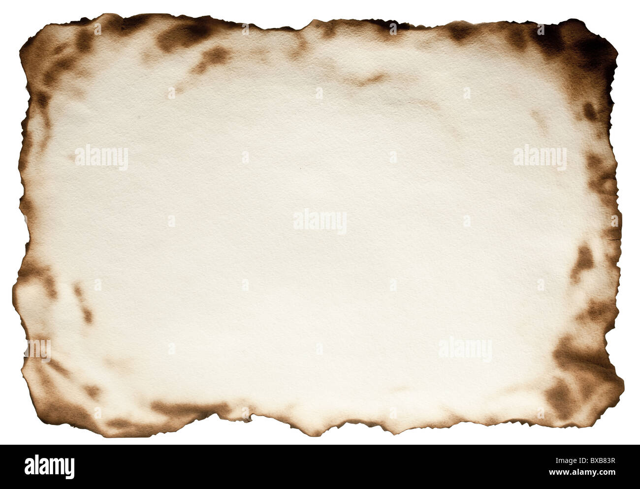 Burnt at the edges textured paper against isolated on a white background. File contains the path for cut. - Stock Image