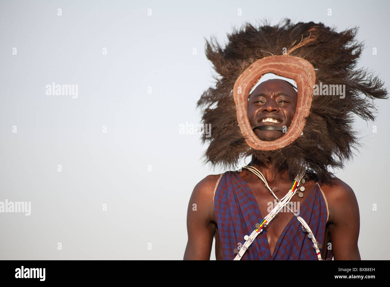 Kenyan man in tribal attire - Stock Image