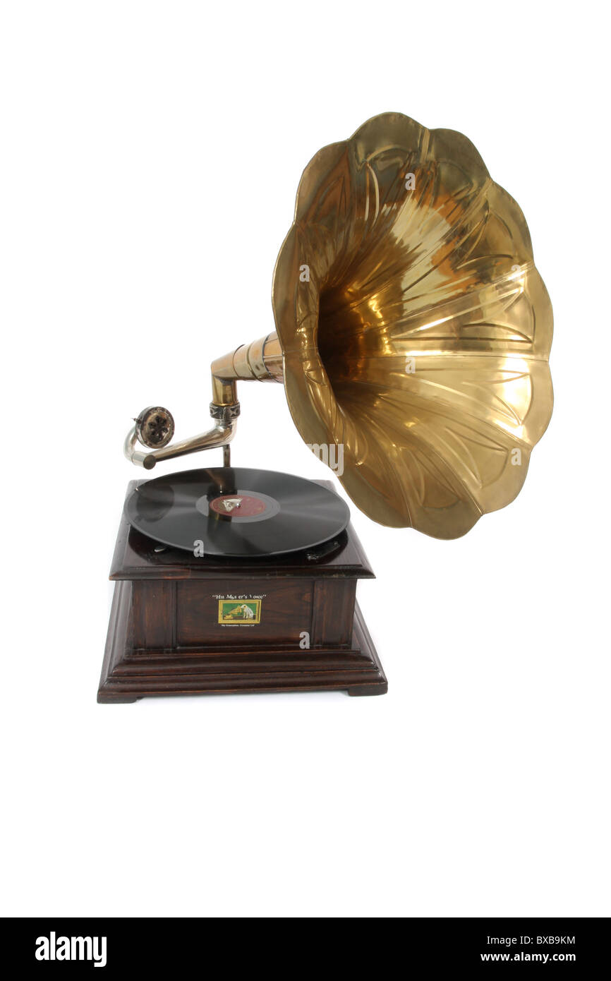 A gramophone with a vinyl record in place. - Stock Image