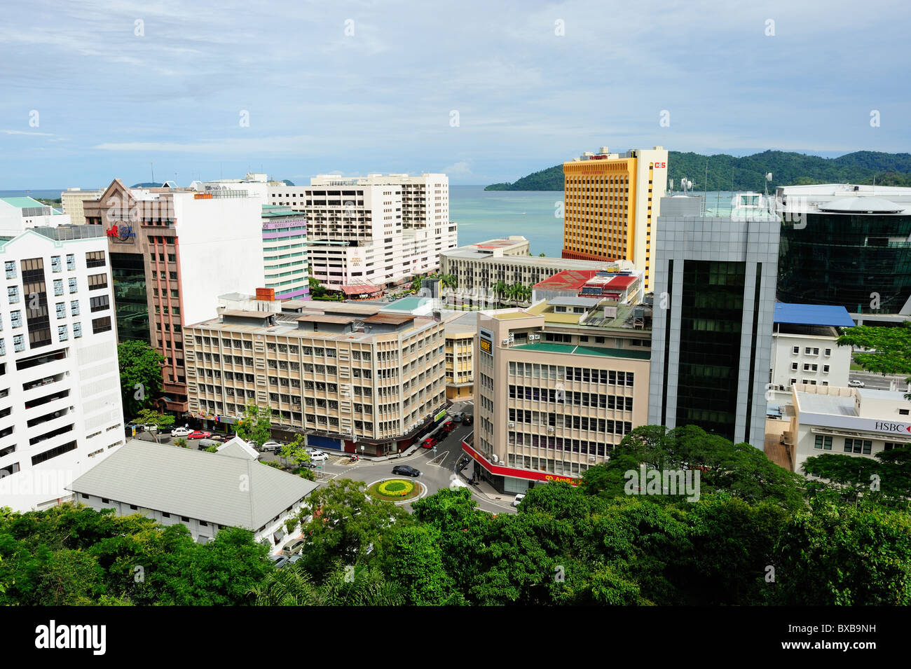 City view from the observatory on Signal Hill, Kota Kinabalu, Sabah - Stock Image