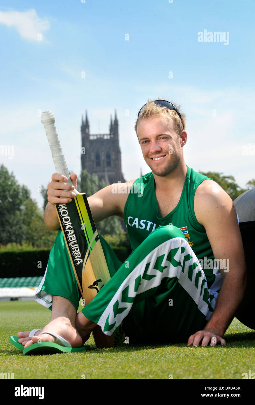 South African cricketer AB de Villiers after nets at Worcestershire during their 2008 tour UK - Stock Image