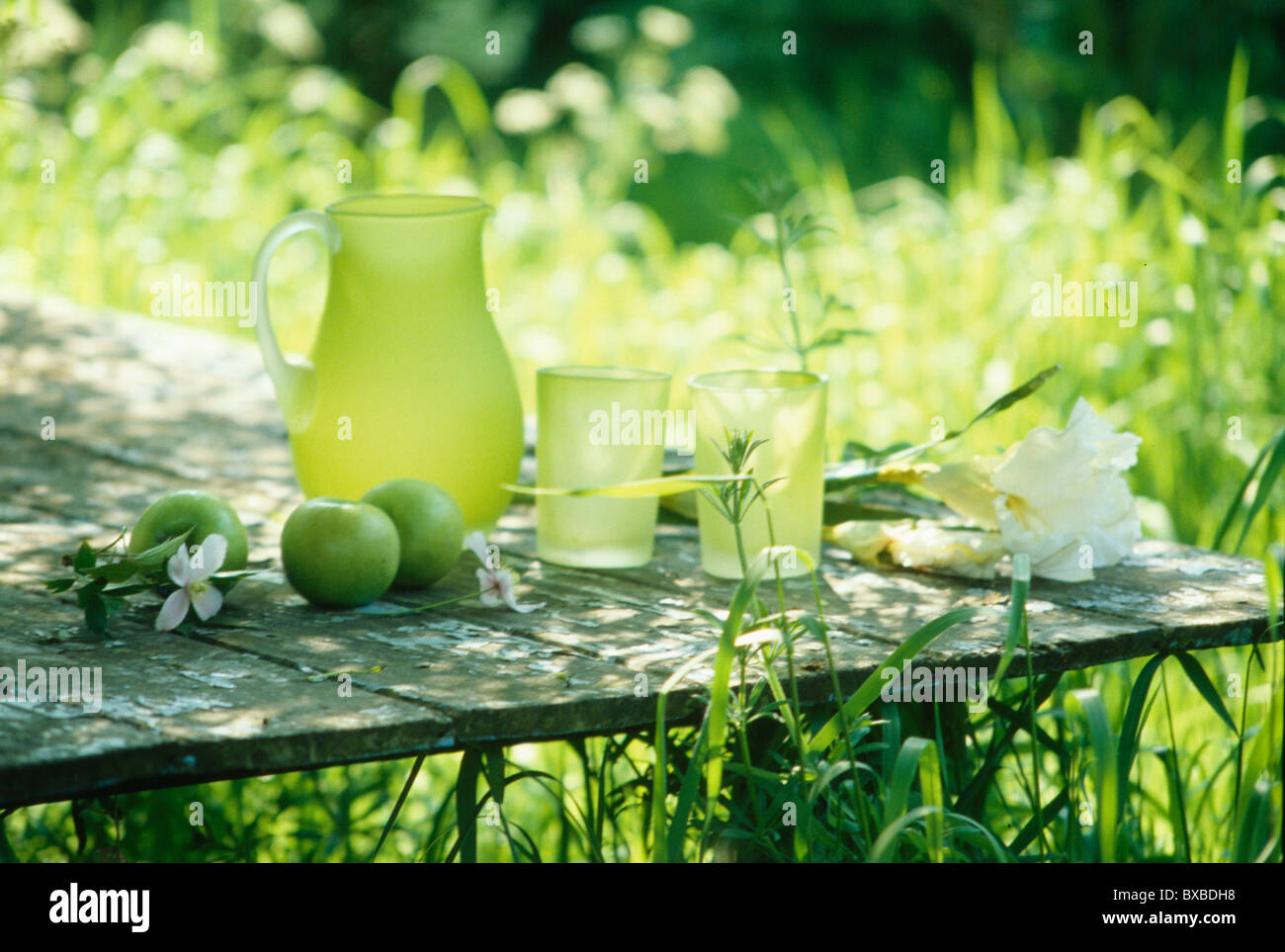 Still-Life of lime-green opaque glass jug and glasses with green apples on old rustic wooden garden table - Stock Image