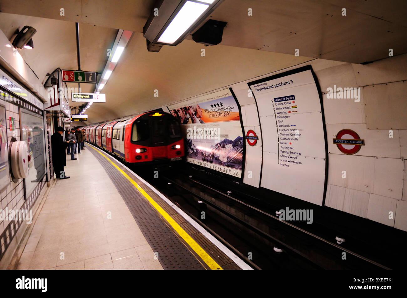 Leicester Square Underground Tube Station, Northern Line Platform, London, England, UK - Stock Image