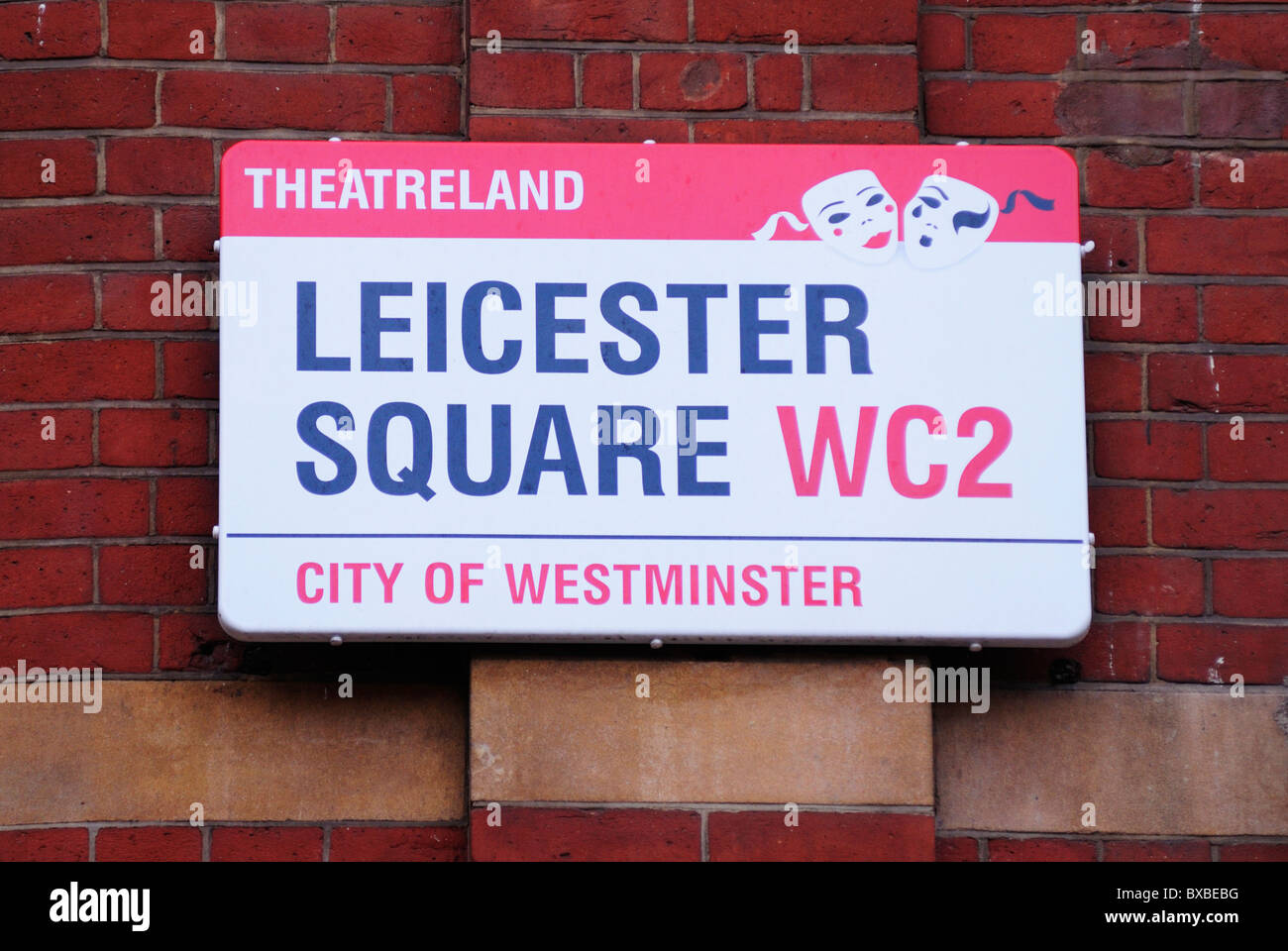 Theatreland Leicester Square WC2 Street Sign, London, England, UK - Stock Image