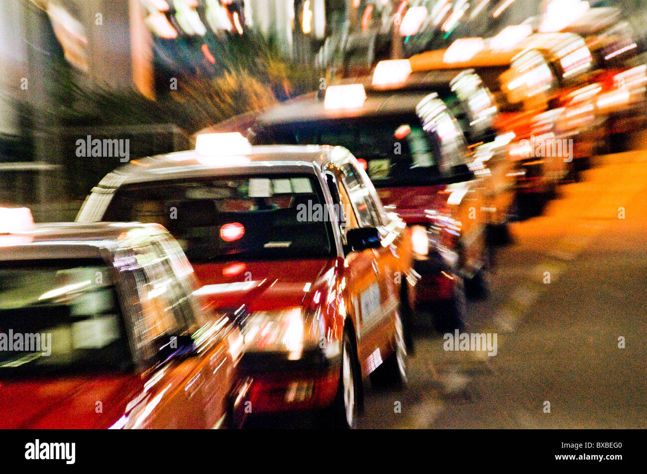 Queue of taxicabs waiting in line Changi airport terminal in Singapore southeast Asia - Stock Image