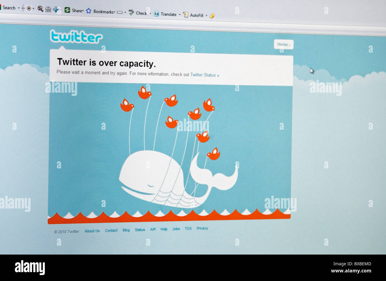 Twitter is over capacity message on computer screen and 'fail whale' error message. FOR EDITORIAL USE ONLY - Stock Image