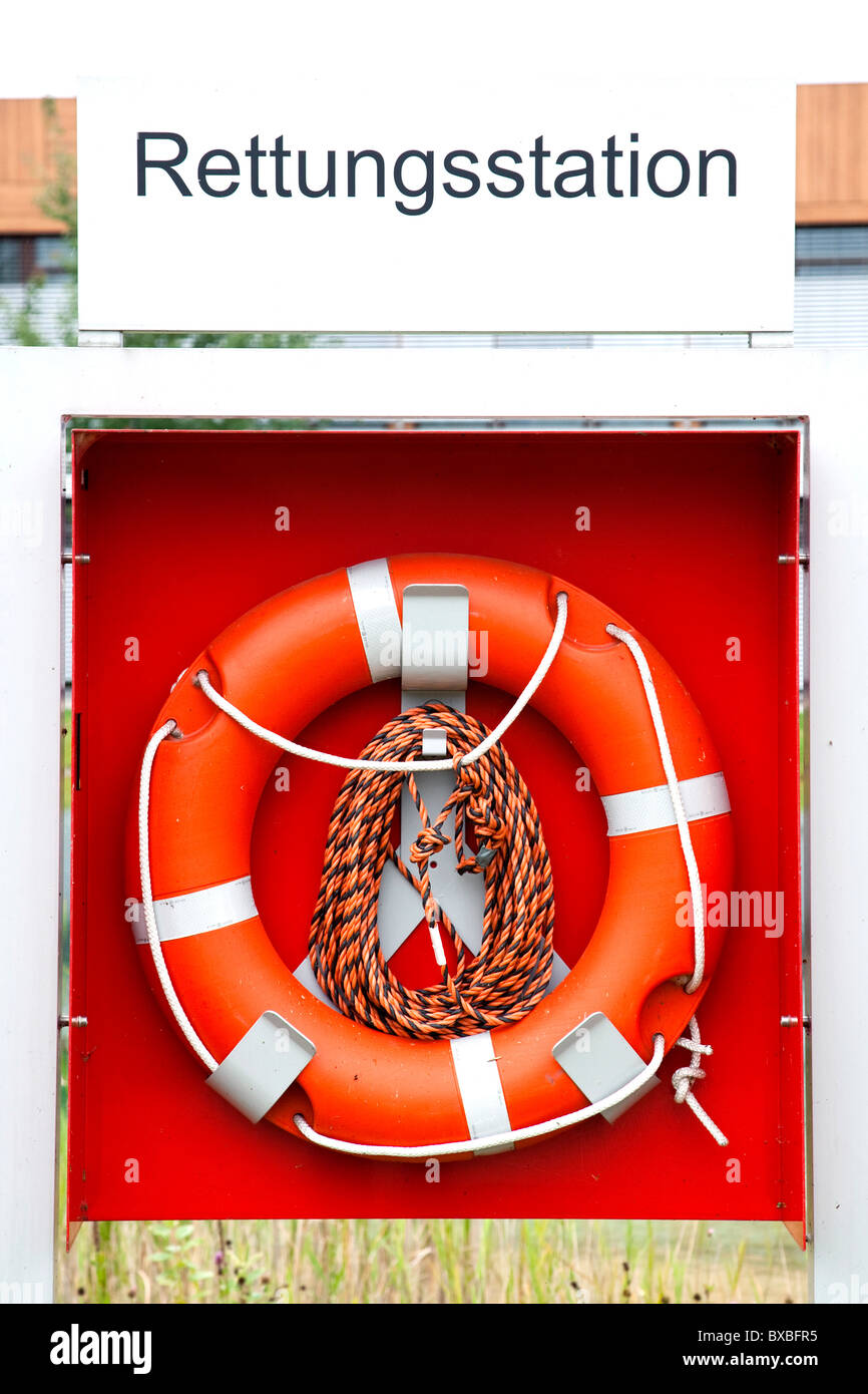 Life buoy at rescue station - Stock Image